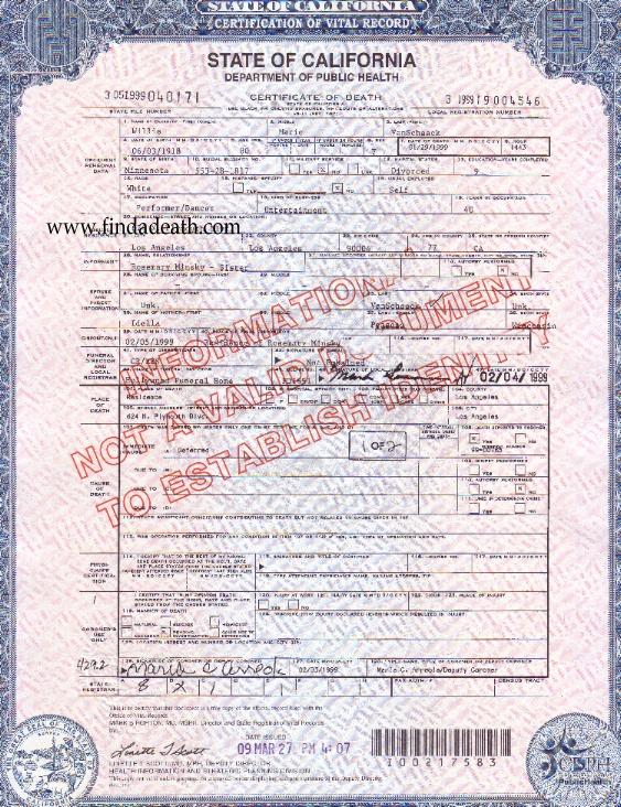 Lili St. Cyr's Death Certificate