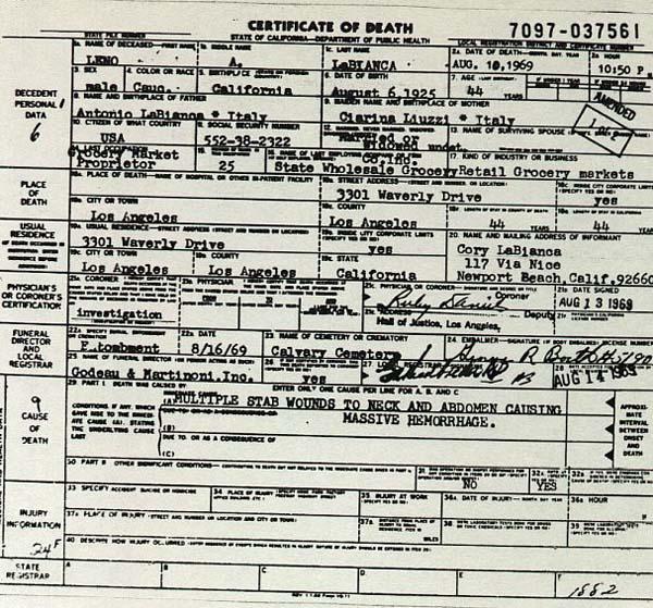 Leno LaBianca's Death Certificate