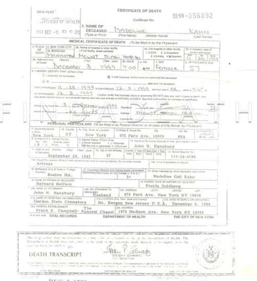Madeline Kahn's Death Certificate