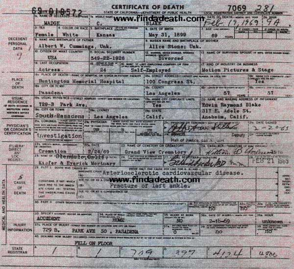 Madge Blake's Death Certificate