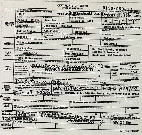 Mae West's Death Certificate