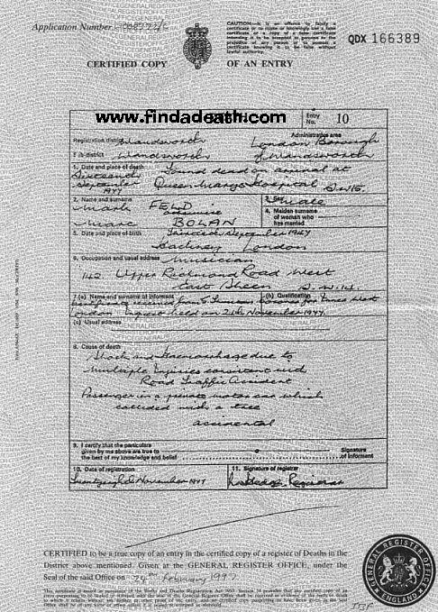Marc Bolan's Death Certificate