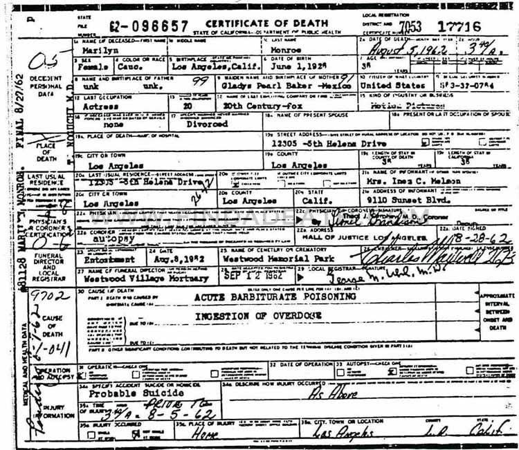 Marilyn Monroe's Death Certificate