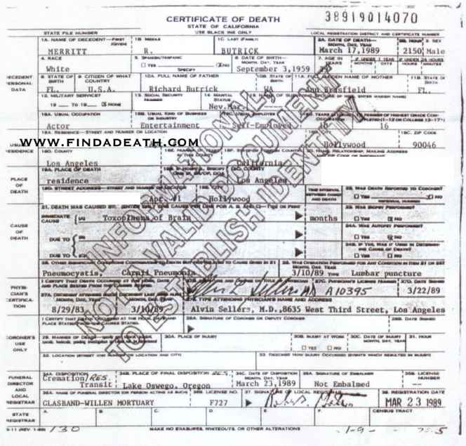 Merritt Butrick's Death Certificate