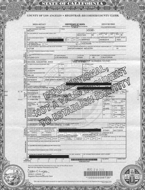 Mickey Rooney's Death Certificate