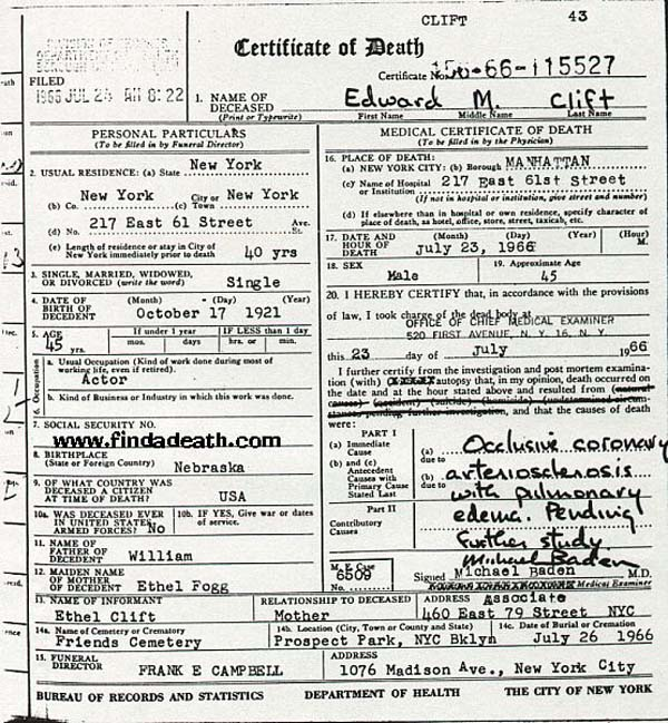Montgomery Clift's Death Certificate