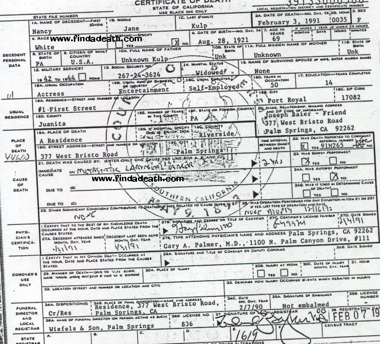 Nancy Kulp's Death Certificate
