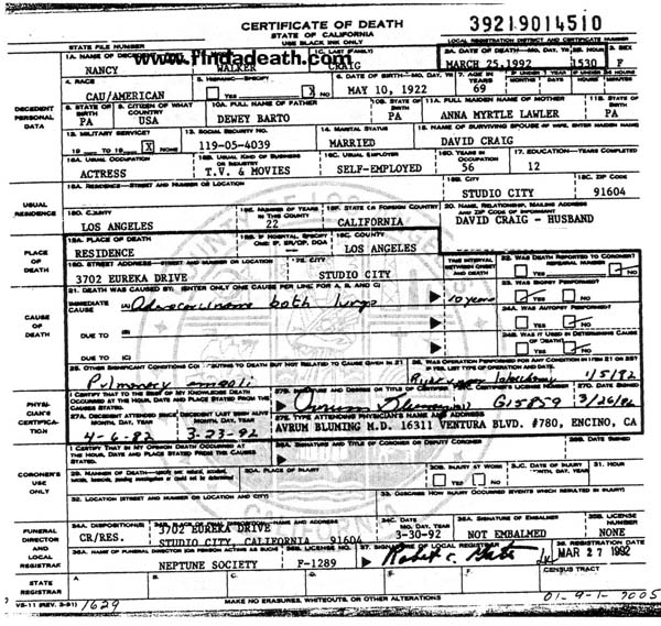 Nancy Walker's Death Certificate