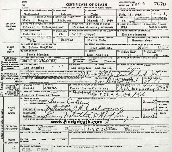 Nat King Cole's Death Certificate