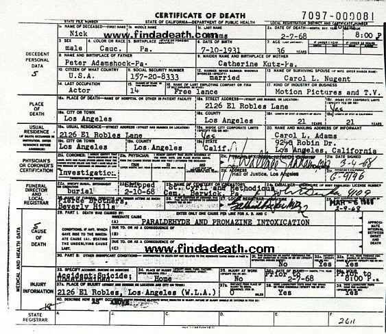 Nick Adams' Death Certificate