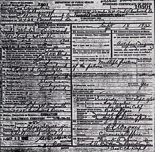 Peg Entwistle's Death Certificate