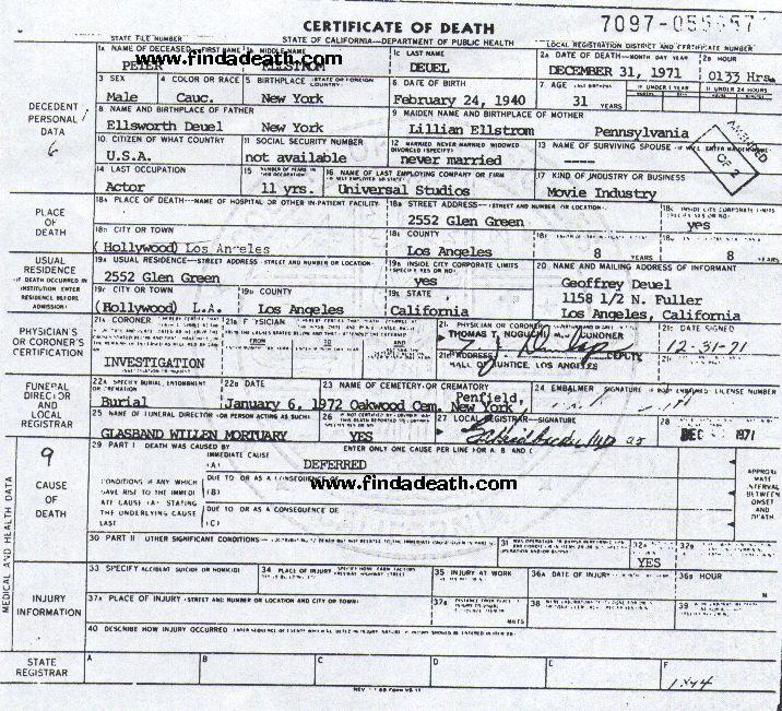 Peter Duel's Death Certificate
