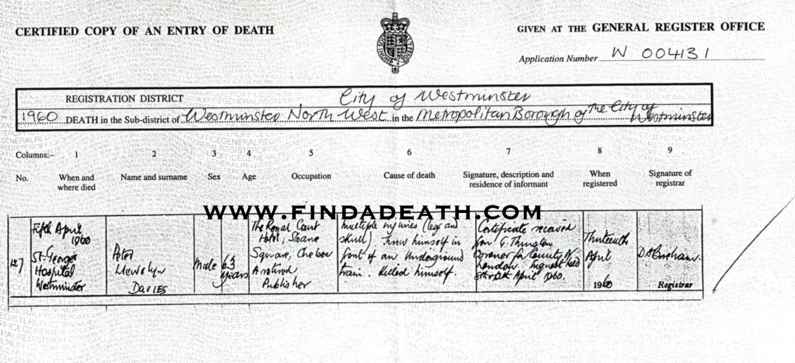 Peter Davies' Death Certificate