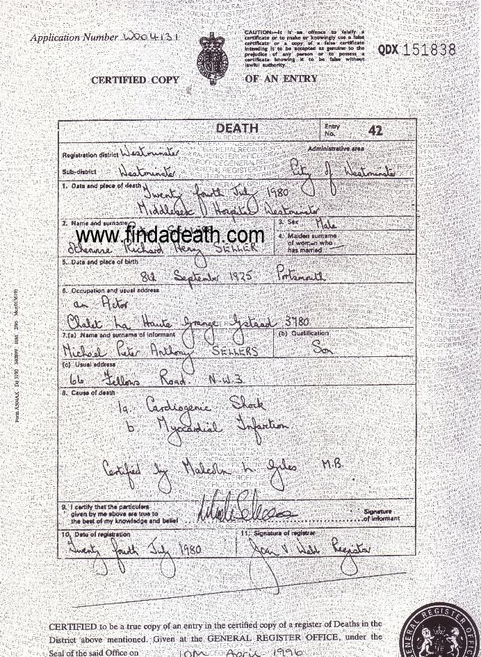 Peter Sellers' Death Certificate