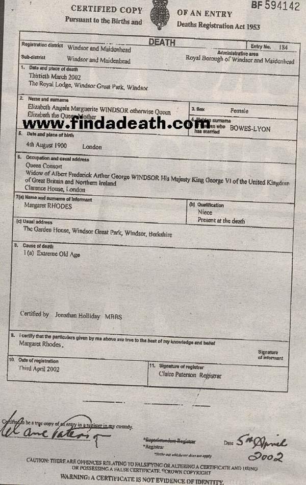 Queen Elizabeth's Death Certificate