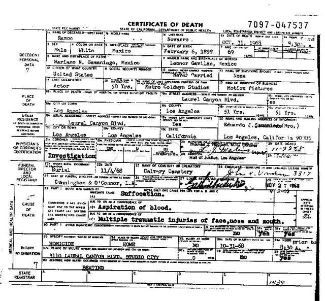 Ramon Novarro's Death Certificate