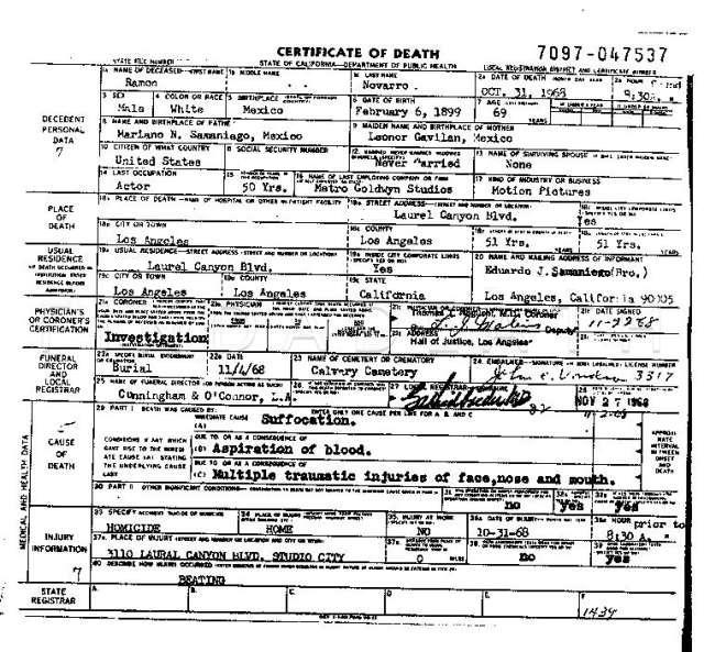 Ramon Novarro's Death Certificate
