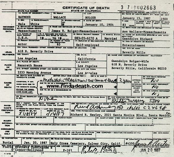 Ray Bolger's Death Certificate