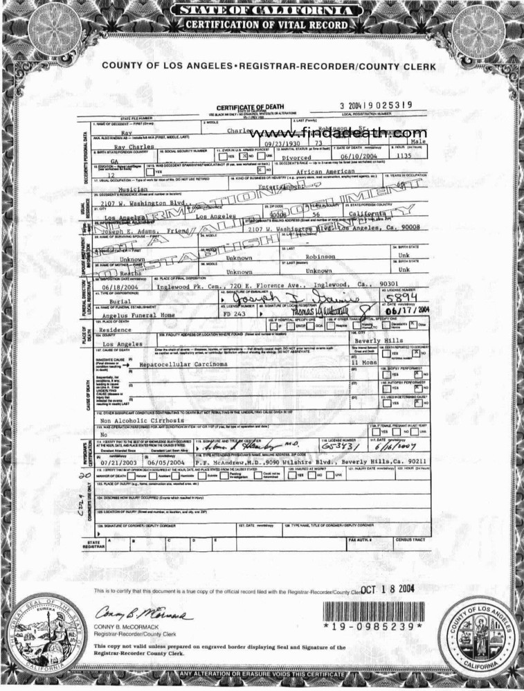 Ray Charles Death Certificate