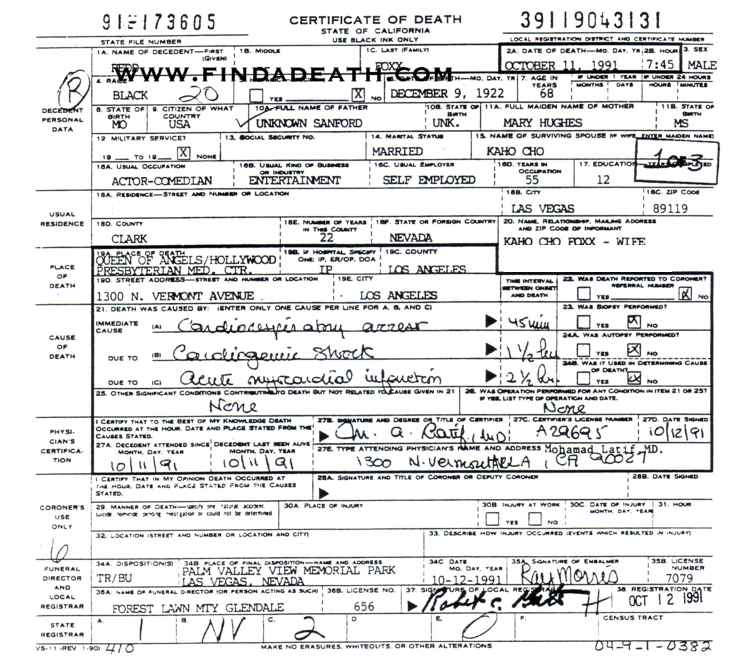 Redd Foxx's Death Certificate