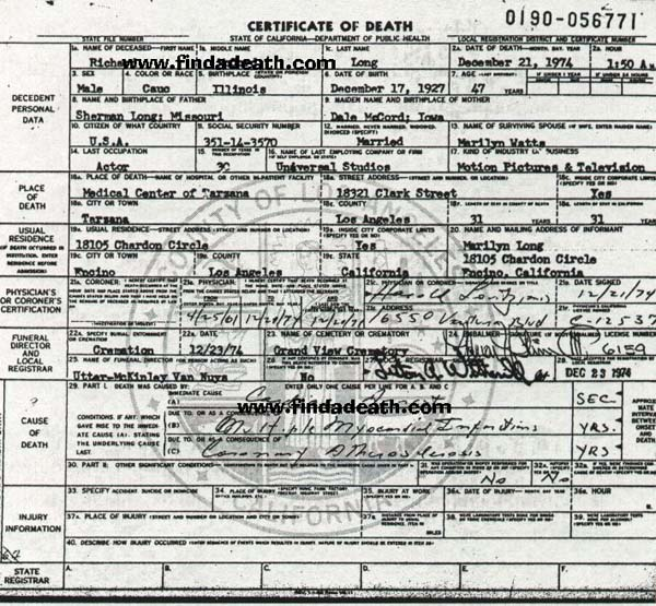 Richard Long's Death Certificate