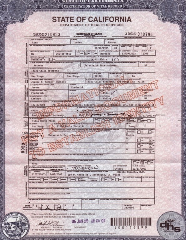 Rita Bell's Death Certificate