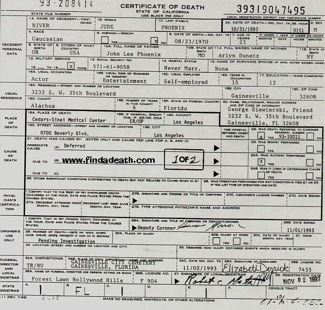 River Phoenix Death Certificate