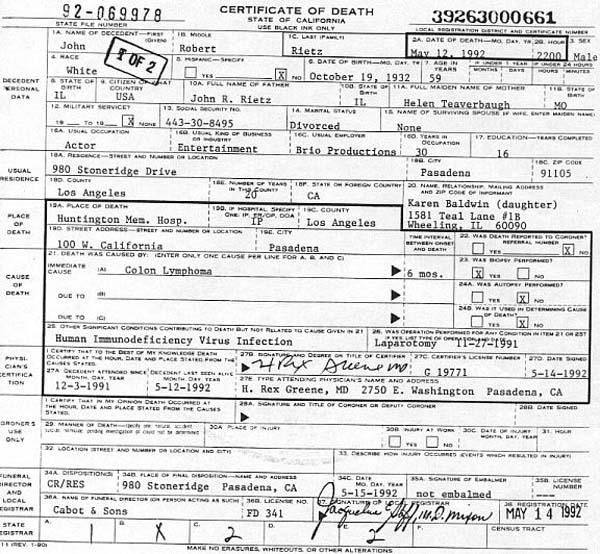 Robert Reed's Death Certificate