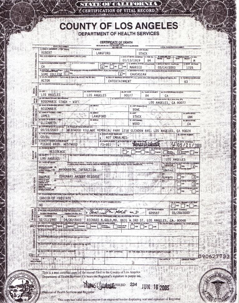 Robert Stack's Death Certificate