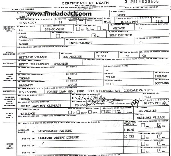 Robert Young's Death Certificate