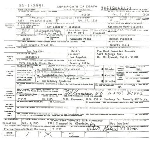 Rock Hudson's Death Certificate