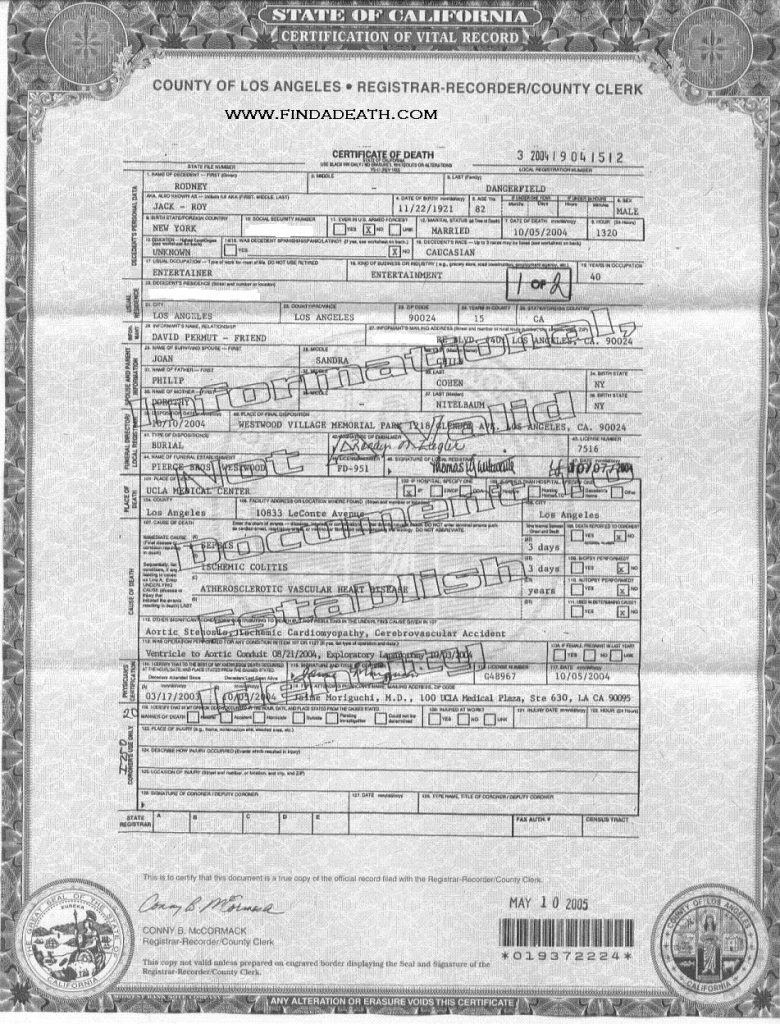 Rodney Dangerfield's Death Certificate