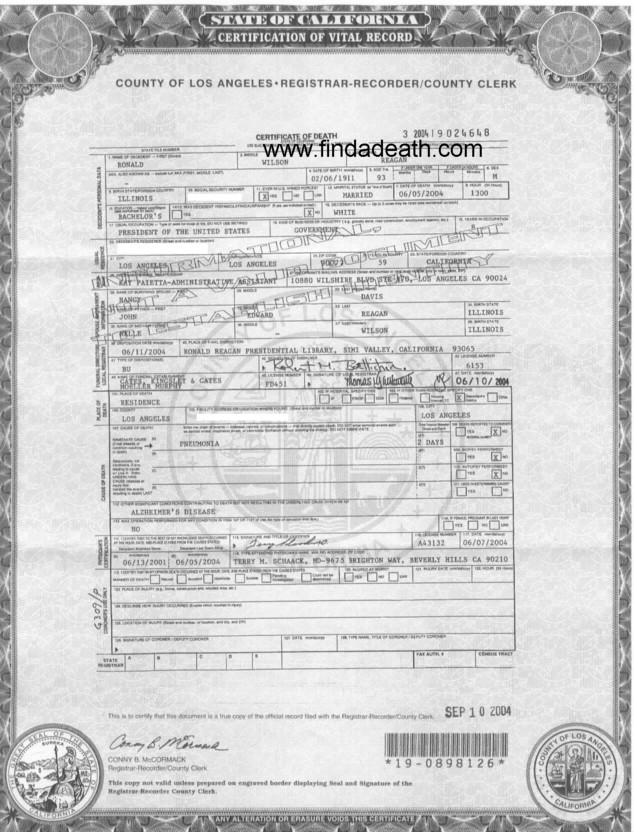 Ronald Reagan's Death Certificate
