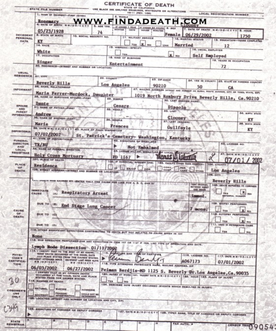 Rosemary Clooney's Death Certificate