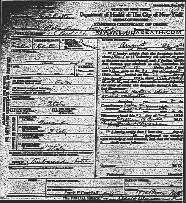 Rudolph Valentino's Death Certificate