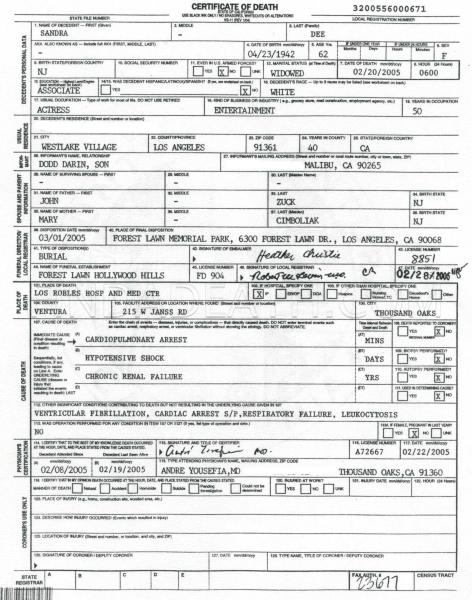 Sandra Dee's Death Certificate