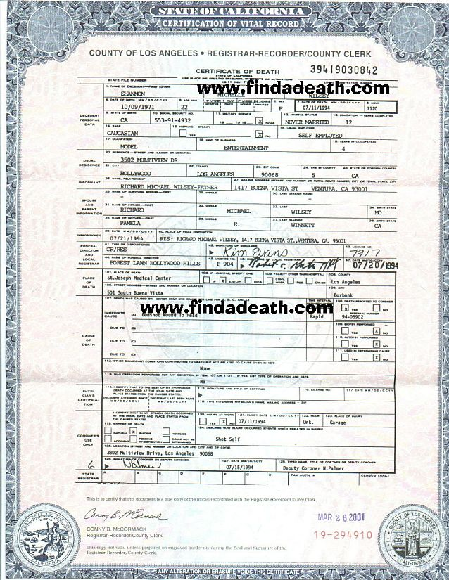 Savannah's Death Certificate