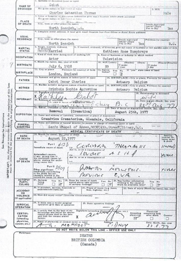 Sebastian Cabot's Death Certificate