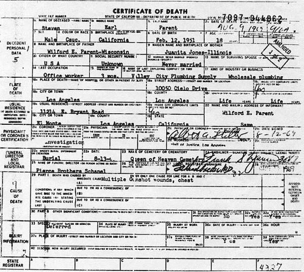 Steve Parent Death Certificate