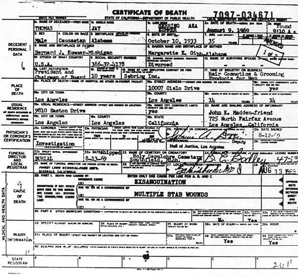 Jay Sebring Death Certificate