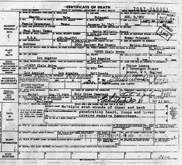 Sharon Tate's Death Certificate