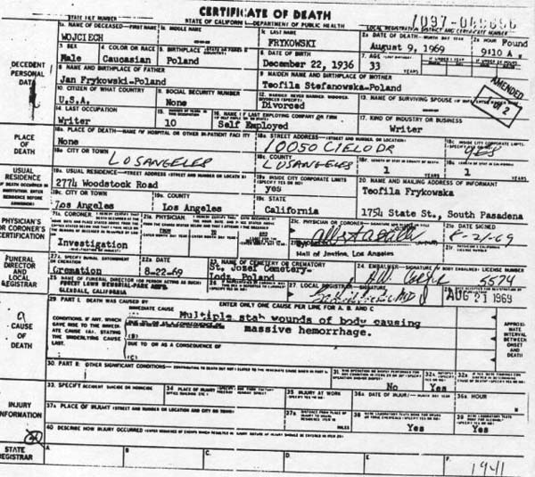 Wojciech Frykowski Death Certificate