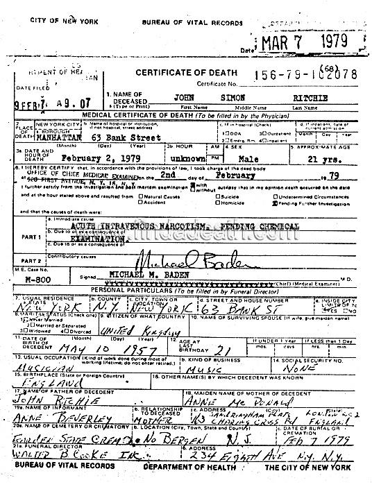 John Simon Ritchie's (Sid Vicious) Death Certificate
