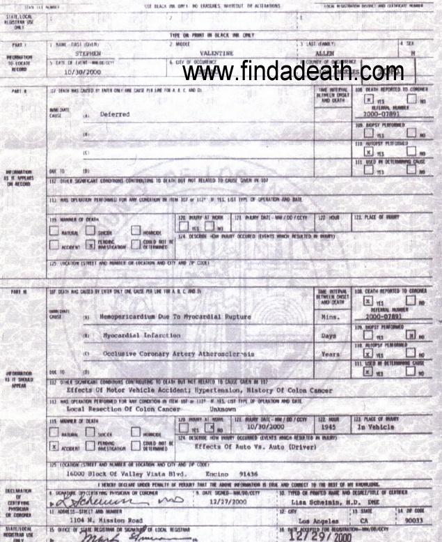 Steve Allen's Death Certificate