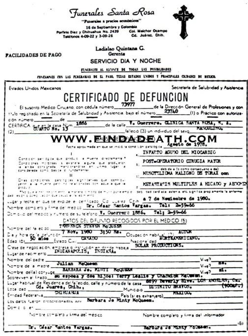Steve McQueen's Death Certificate