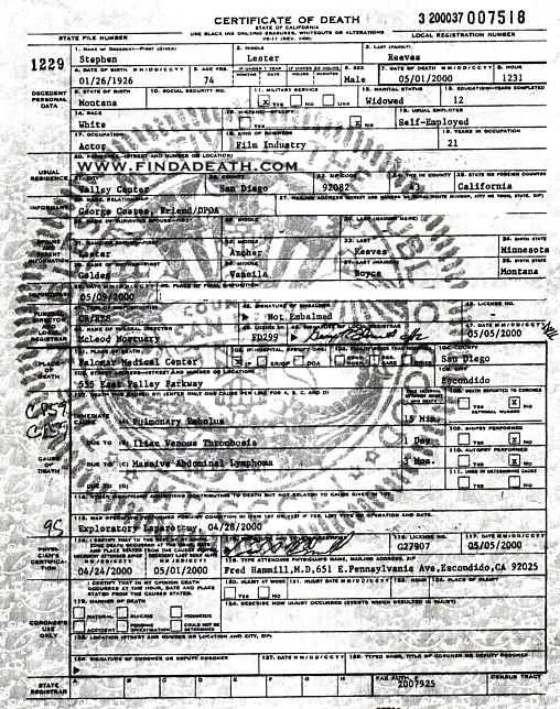Steve Reeves' Death Certificate