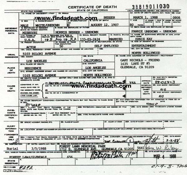 Joe Besser's Death Certificate