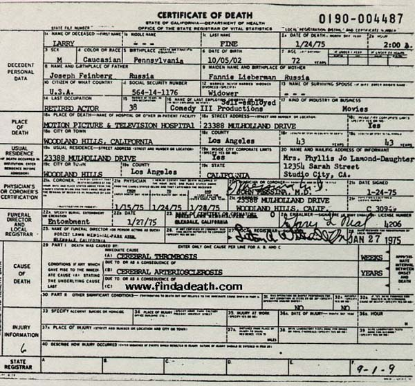 Larry Fine's Death Certificate