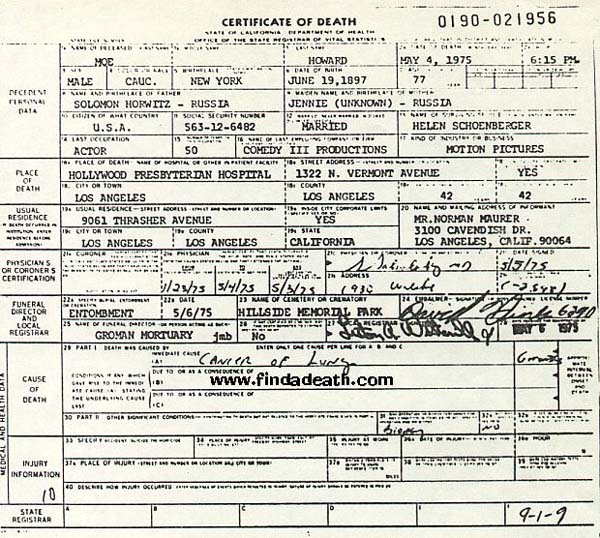 Moe Howard's Death Certificate
