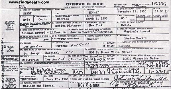 Shemp Howard's Death Certificate
